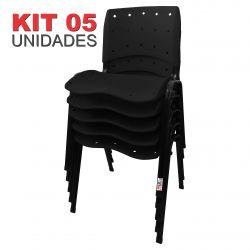 it 05 Unidades Cadeira Fixa Anatômica Ergoplax Assento Encosto Plástico Preto