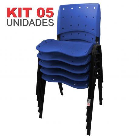 it 05 Unidades Cadeira Fixa Anatômica Ergoplax Assento Encosto Plástico Azul Bic