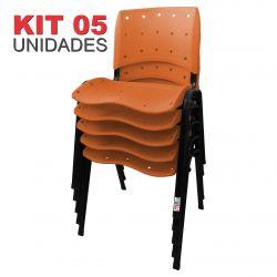 it 05 Unidades Cadeira Fixa Anatômica Ergoplax Assento Encosto Plástico Laranja