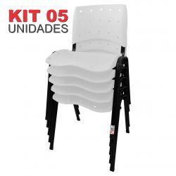it 05 Unidades Cadeira Fixa Anatômica Ergoplax Assento Encosto Plástico Branco