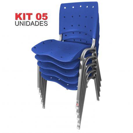 Kit 05 Unidades Cadeira Fixa Anatômica Ergoplax Azul Bic Estrutura Prata