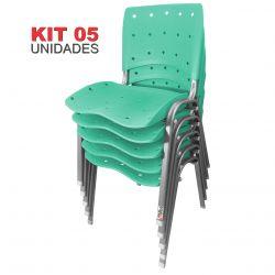 Kit 05 Unidades Cadeira Fixa Anatômica Ergoplax Acqua Marine Estrutura Prata