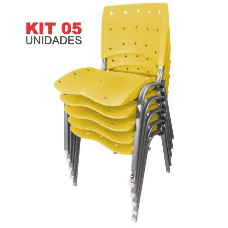 Kit 05 Unidades Cadeira Fixa Anatômica Ergoplax Amarelo Estrutura Prata