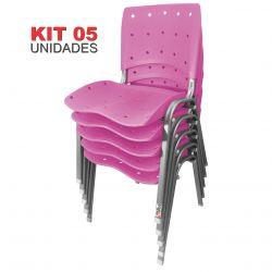 Kit 05 Unidades Cadeira Fixa Anatômica Ergoplax Rosa Estrutura Prata