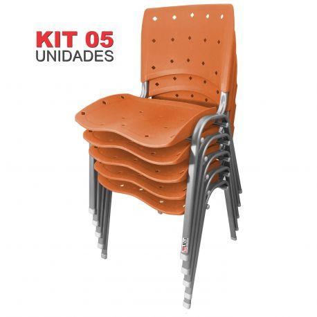 Kit 05 Unidades Cadeira Fixa Anatômica Ergoplax Laranja Estrutura Prata