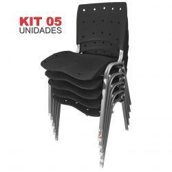 Kit 05 Unidades Cadeira Fixa Anatômica Ergoplax Preto Estrutura Prata