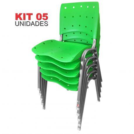 Kit 05 Unidades Cadeira Fixa Anatômica Ergoplax Verde Estrutura Prata