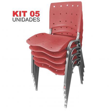 Kit 05 Unidades Cadeira Fixa Anatômica Ergoplax Vermelho Estrutura Prata