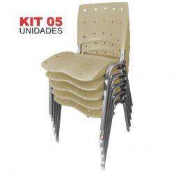 Kit 05 Unidades Cadeira Fixa Anatômica Ergoplax Bege Estrutura Prata