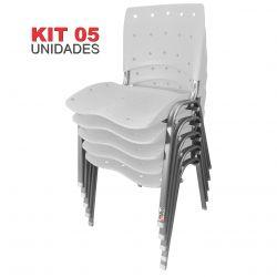 Kit 05 Unidades Cadeira Fixa Anatômica Ergoplax Branco Estrutura Prata