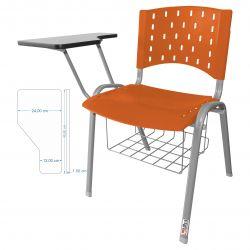 Kit 10 Cadeiras Universitárias Singolare Com Porta Livros Laranja Estrutura Prata