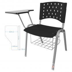 Kit 10 Cadeiras Universitárias Singolare Com Porta Livros Preto Estrutura Prata