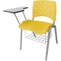 Kit 10 Cadeiras Universitárias Singolare Com Porta Livros Verde Estrutura Prata