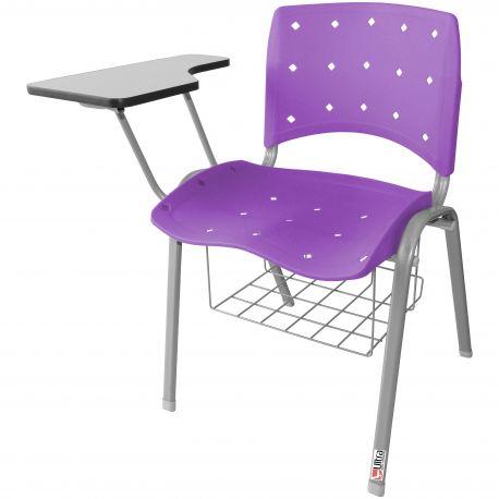 Kit 10 Cadeiras Universitárias Ergoplax Com Porta Livros Preto Estrutura Prata