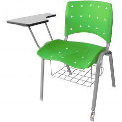Kit 10 Cadeiras Universitárias Ergoplax Com Porta Livros Verde Estrutura Prata