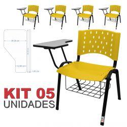 Cadeira Universitária Plástica Amarela Com Porta Livros 5 Unidades - ULTRA Móveis