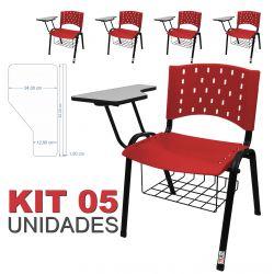 Cadeira Universitária Plástica Vermelha Com Porta Livros 5 Unidades - ULTRA Móveis