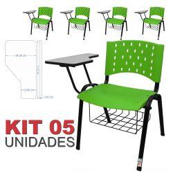 Cadeira Universitária Plástica Verde Com Porta Livros 5 Unidades - ULTRA Móveis