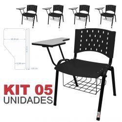 Cadeira Universitária Plástica Preta Com Porta Livros 5 Unidades - ULTRA Móveis