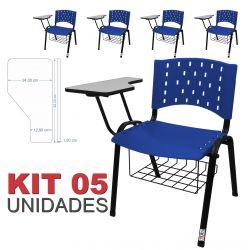 Cadeira Universitária Plástica Azul Com Porta Livros 5 Unidades - ULTRA Móveis