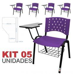 Cadeira Universitária Plástica Lilás Com Porta Livros 5 Unidades - ULTRA Móveis