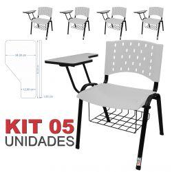 Cadeira Universitária Plástica Branca Com Porta Livros 5 Unidades - ULTRA Móveis
