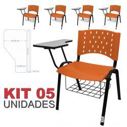 Cadeira Universitária Plástica Laranja Com Porta Livros 5 Unidades - ULTRA Móveis