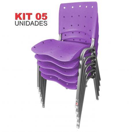 Kit 05 Unidades Cadeira Fixa Anatômica Ergoplax Lilás Estrutura Prata