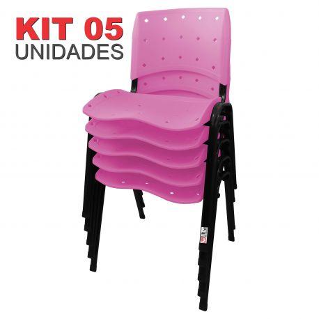 it 05 Unidades Cadeira Fixa Anatômica Ergoplax Assento Encosto Plástico Rosa