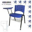 Cadeira Universitária Plástica Azul Com Porta Livros 10 Unidades Prancheta Plástica - ULTRA Móveis