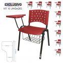 Cadeira Universitária Plástica Vermelha Com Porta Livros 10 Unidades Prancheta Plástica - ULTRA Móveis