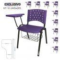 Cadeira Universitária Plástica Lilás Com Porta Livros 10 Unidades Prancheta Plástica - ULTRA Móveis