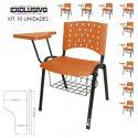 Cadeira Universitária Plástica Laranja Com Porta Livros 10 Unidades Prancheta Plástica - ULTRA Móveis