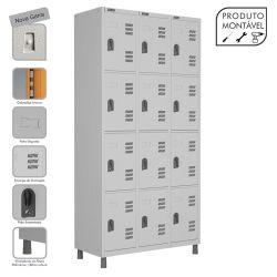 Armário Roupeiro de Aço Montável 12 Portas Cinza Cristal - W3