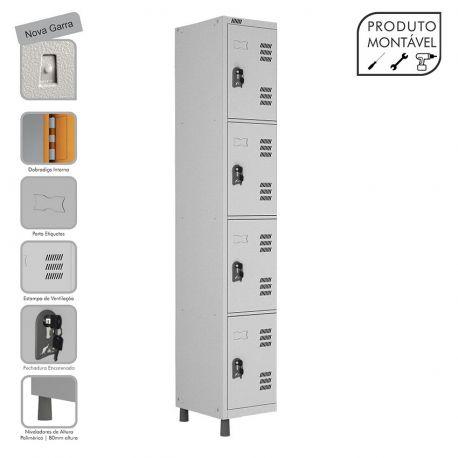 Armário Roupeiro de Aço Montável 4 Portas Cinza Cristal - W3 - COM FECHADURA