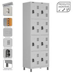 Armário Roupeiro de Aço Montável 8 Portas Cinza Cristal - W3 - COM FECHADURA