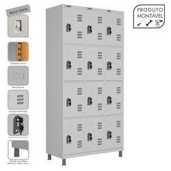 Armário Roupeiro de Aço Montável 12 Portas Cinza Cristal - W3 - COM FECHADURA