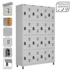 Armário Roupeiro de Aço Montável 16 Portas Cinza Cristal - W3 - COM FECHADURA