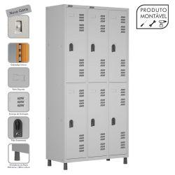 Armário Roupeiro de Aço Montável 6 Portas Grande Cinza Cristal - W3