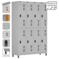Armário Roupeiro de Aço Montável 8 Portas Grande Cinza Cristal - W3