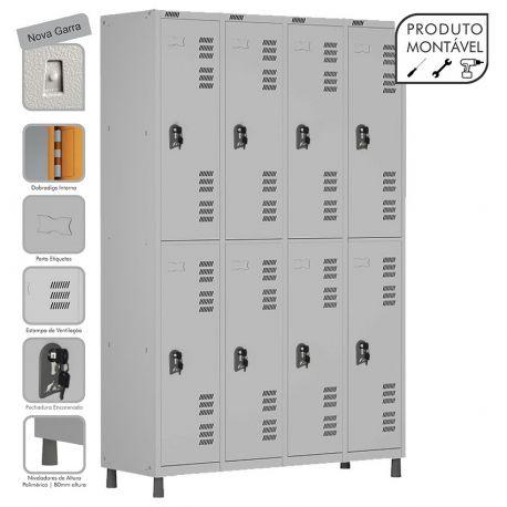 Armário Roupeiro de Aço Montável 8 Portas Grande Cinza Cristal - W3 - COM FECHADURA
