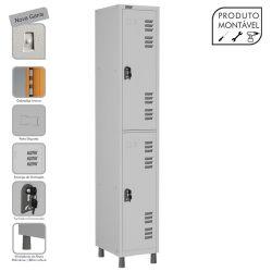 Armário Roupeiro de Aço Montável 2 Portas Grande Cinza Cristal - W3 - COM FECHADURA