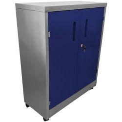 Armário de Aço Médio Cinza Com Azul - ULTRA Móveis - HOME OFFICE