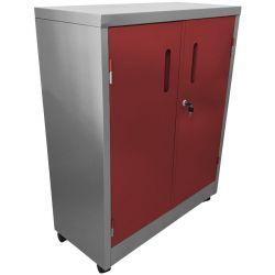 Armário de Aço Médio Cinza Com Vermelho - ULTRA Móveis - HOME OFFICE